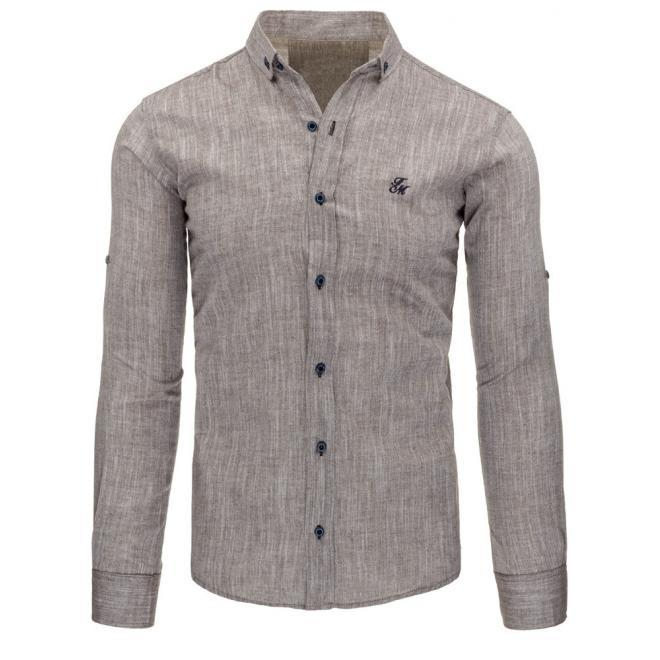 Košeľa pre pánov v sivej farbe s dlhým rukávom