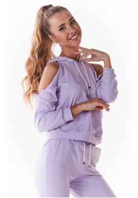 Štýlová dámska mikina fialovej farby s výrezmi
