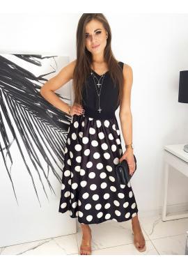 Dlhá dámska sukňa čiernej farby s bielymi guličkami