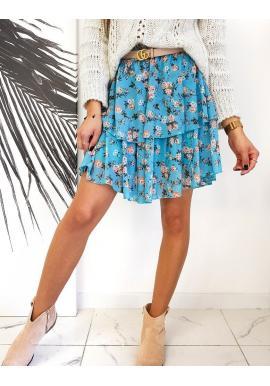 Svetlomodrá kvetovaná sukňa s volánmi pre dámy