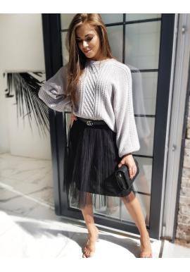 Tylová dámska sukňa čiernej farby