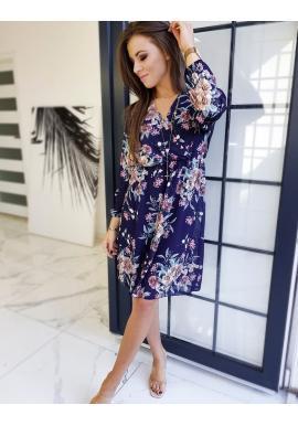 Dámske kvetované šaty s dlhým rukávom v tmavomodrej farbe