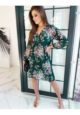 Zelené kvetované šaty s dlhým rukávom pre dámy