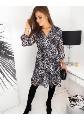 Módne dámske šaty sivej farby s leopardím vzorom