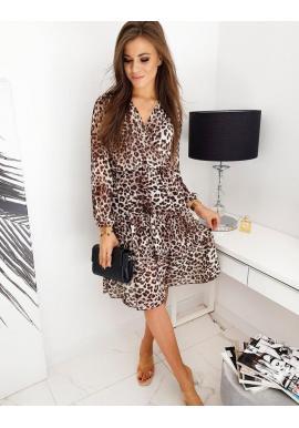 Dámske módne šaty s leopardím vzorom v hnedej farbe