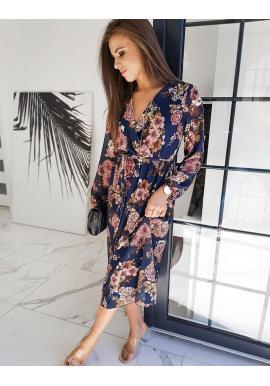 Kvetované dámske šaty tmavomodrej farby s opaskom