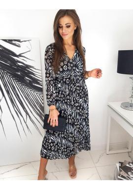 Dámske dlhé šaty so vzorom v čiernej farbe