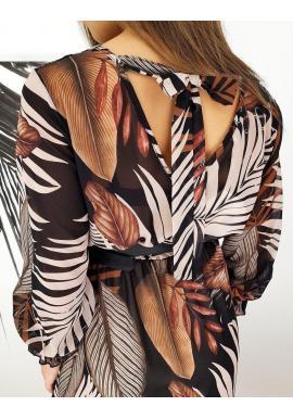 Dlhé dámske šaty hnedo-čiernej farby so vzorom