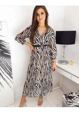 Dámske dlhé šaty so vzorom v béžovej farbe