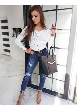 Priliehavý dámsky sveter bielej farby s ozdobnými gombíkmi