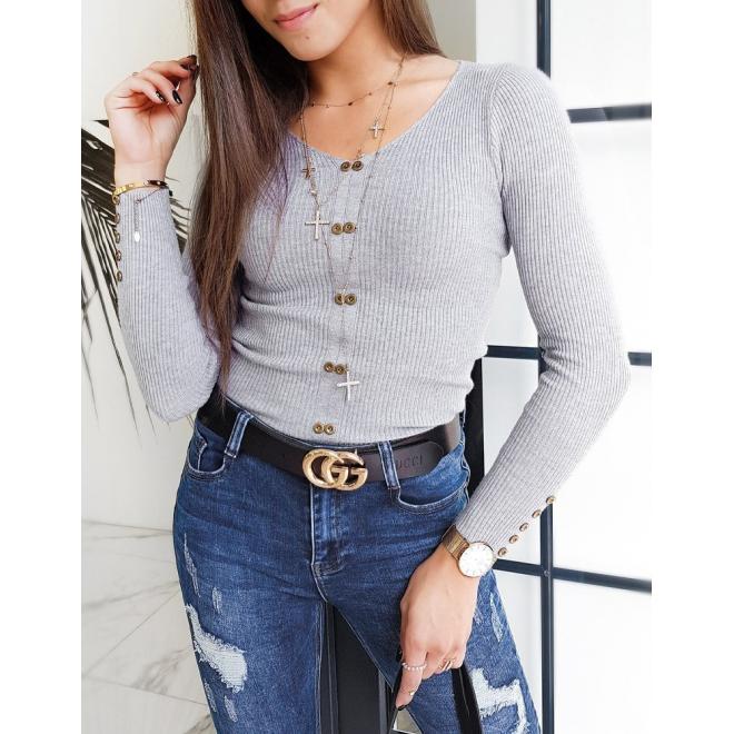 Svetlosivý priliehavý sveter s ozdobnými gombíkmi pre dámy
