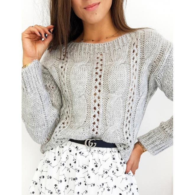 Svetlosivý štýlový sveter pre dámy