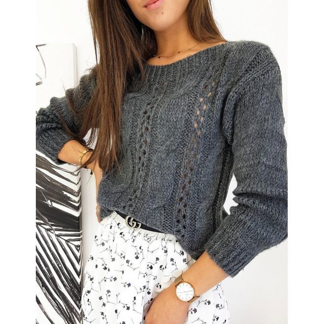 Štýlový dámsky sveter tmavosivej farby
