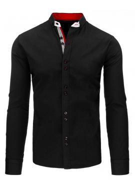Čierna elegantná pánska košeľa s dlhým rukávom