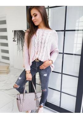 Dámsky oversize sveter v ružovej farbe