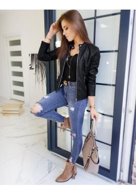 Dámska kožená bunda s prešívaním v čiernej farbe