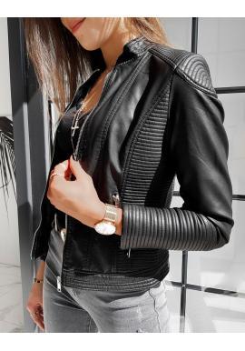 Čierna klasická koženka s prešívaním pre dámy