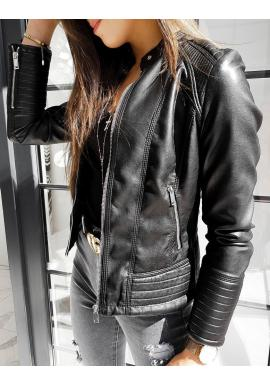 Dámska módna koženka s prešívaním v čiernej farbe