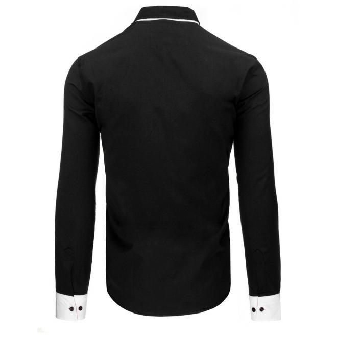 Pánska košeľa bielej farby s kontrastným pásom