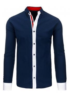 Košeľa čiernej farby s kontrastným pásom pre pánov