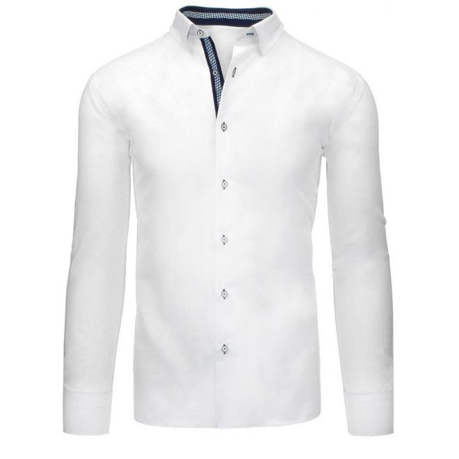 Biela košeľa so záplatami na lakťoch pre pánov