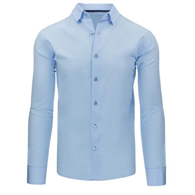 Tmavomodrá klasická košeľa s dlhým rukávom