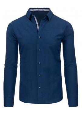 Pánska modrá košeľa so záplatami na lakťoch