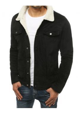 Pánska menčestrová bunda s kožušinou v čiernej farbe