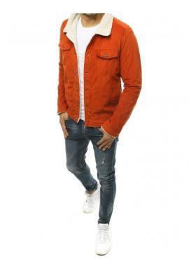 Menčestrová pánska bunda oranžovej farby s kožušinou