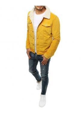 Žltá menčestrová bunda s kožušinou pre pánov