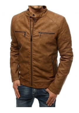Hnedá kožená bunda s prešívanými prvkami pre pánov