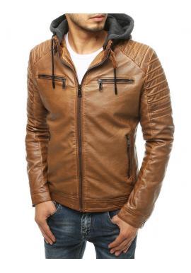 Pánska kožená bunda s odopínacou kapucňou v hnedej farbe