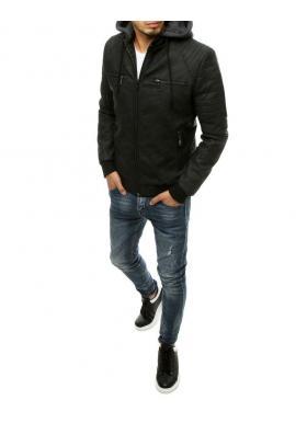Pánske prechodné koženky s odopínacou kapucňou v čiernej farbe