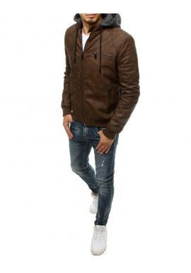 Hnedá prechodná koženka s odopínacou kapucňou pre pánov