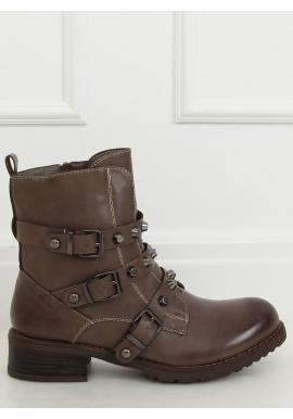 Tmavobéžové vojenské topánky s vybíjaním pre dámy