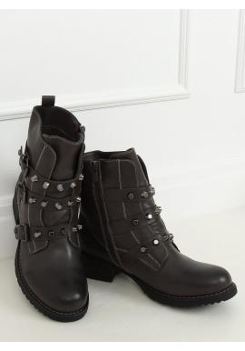 Dámske vojenské topánky s vybíjaním v sivej farbe