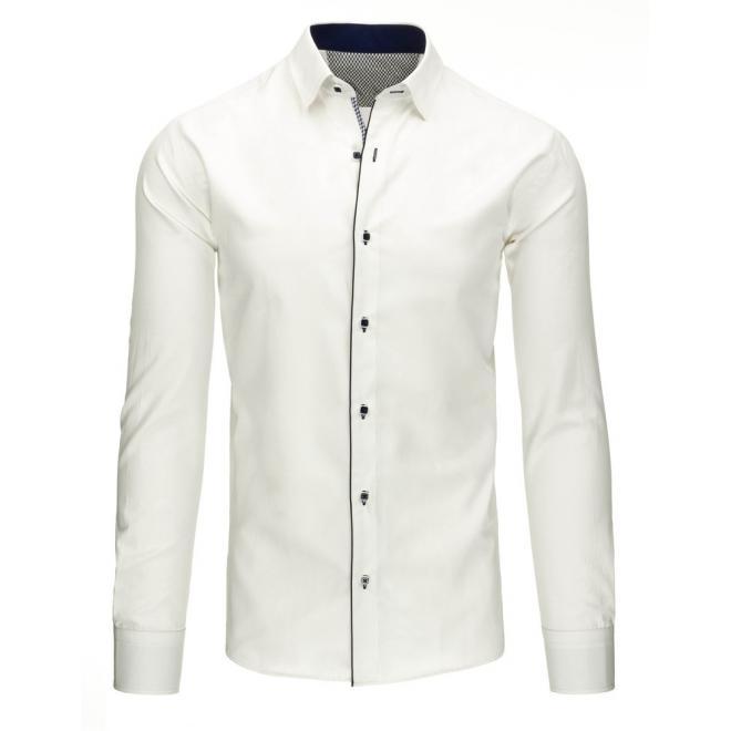 Modrá košeľa pre pánov s ozdobným pásikom