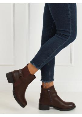 Lícové dámske topánky hnedej farby so širokým opätkom