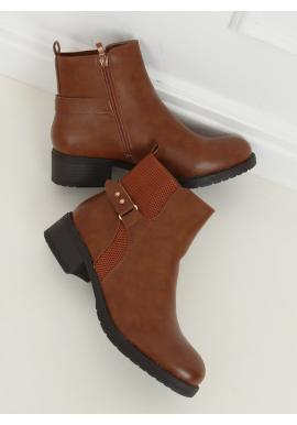 Hnedé lícové topánky so širokým opätkom pre dámy