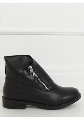 Dámske členkové topánky so strieborným zipsom v čiernej farbe