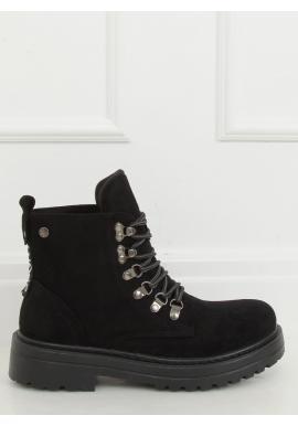 Semišové dámske topánky čiernej farby