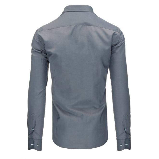 Klasická pánska košeľa v sivej farbe s dlhým rukávom