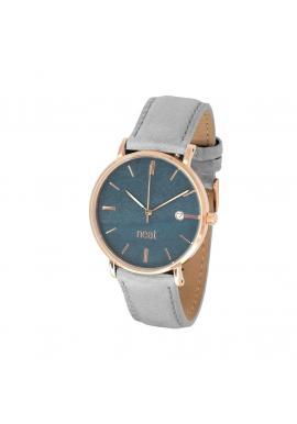 Sivé módne hodinky s koženým remienkom pre dámy