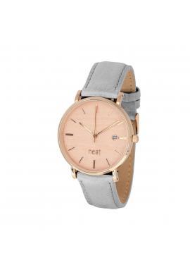 Módne dámske hodinky sivej farby s koženým remienkom