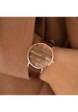Dámske štýlové hodinky s koženým remienkom v hnedej farbe
