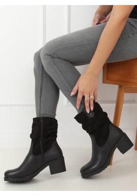 Dámske módne čižmy so širokým opätkom v čiernej farbe