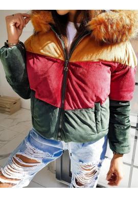 Dámska teplá bunda na zimu v zlatej farbe