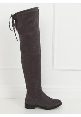 Sivé semišové čižmy nad kolená pre dámy