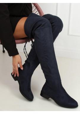 Semišové dámske čižmy nad kolená tmavomodrej farby