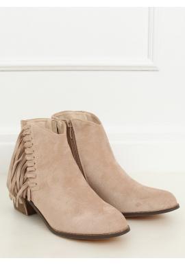 Dámske semišové topánky so strapcami v béžovej farbe